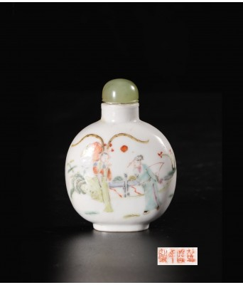 QING DYNASTY FAMILLE ROSE FIGURE  SNUFF BOTTLE